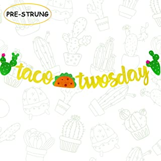 Joymee Taco TWOsday Banner Gold Glitter Mexican Fiesta Themed 2nd Birthday Party Supplies Decorations