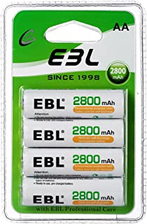 EBL AA Rechargeable Batteries 2800mAh New Retail Package, Pack of 4