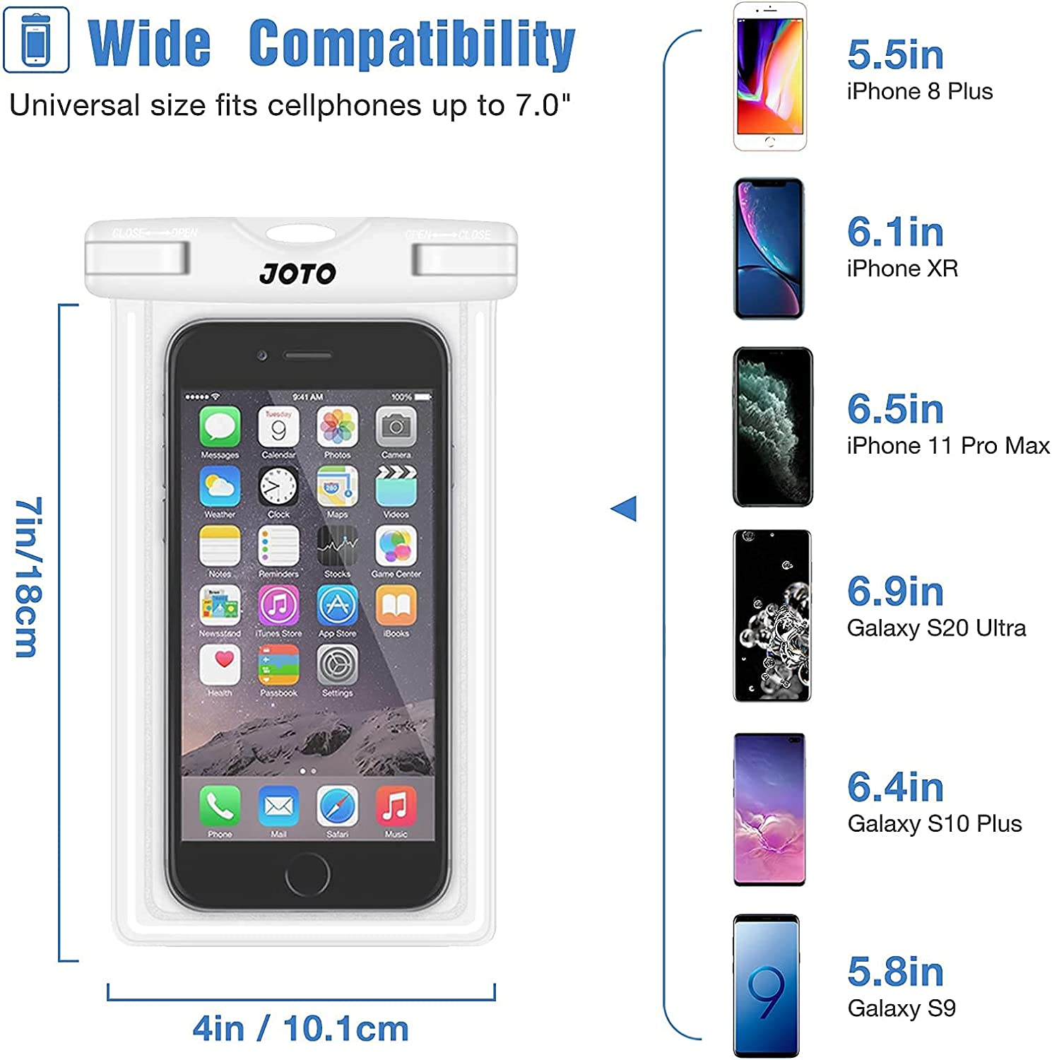 JOTO Universal Waterproof Pouch Cellphone Dry Bag Case Bundle with Universal Waterproof Case for Phones up to 7