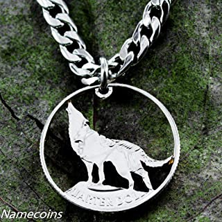 Wolf Jewelry, Howling Wolf Necklace, Hand Cut Coin, By NameCoins