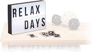 Relaxdays Caja de luz led con 60 letras, símbolos y cifras, Blanco y negro, 15 x 21 x 4 cm