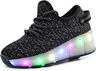 BY0NE Kids Adults LED Light up Wheels Roller Shoes Skate Sport Sneakers(Little/Big Kid)