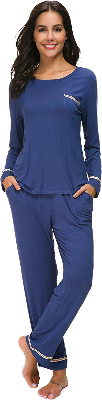 Manxiu Sleepwear Womens Long Sleeve Cotton Pajama Set Soild Loungewear SXXL