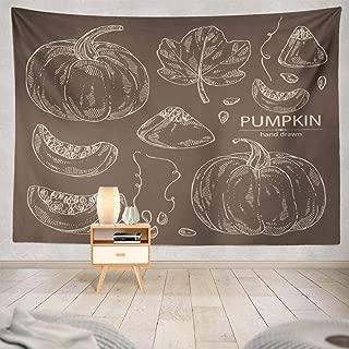 Pakaku Pumpkin Tapestry, Decorative Tapestry Collection Pumpkin Leaf Art Wall Hanging Tapestry 60 L x 80 W for Bedroom Living Kids Girls Boys Room, Pumpkin Pumpkin