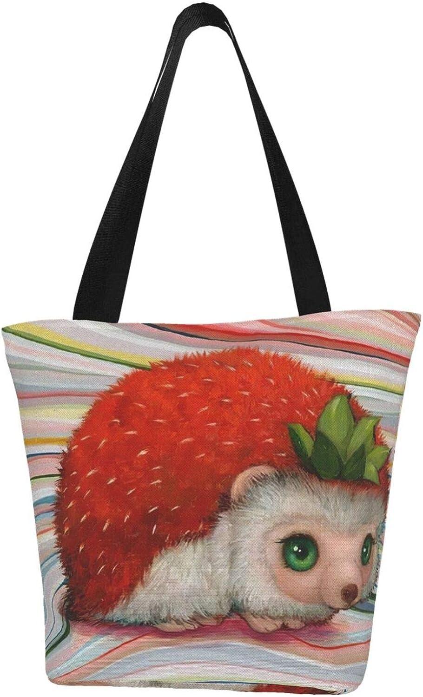 Colorful Cute Strawberry Hedgehog Funny Pet Animal Themed Printed Women Canvas Handbag Zipper Shoulder Bag Work Booksbag Tote Purse Leisure Hobo Bag For Shopping