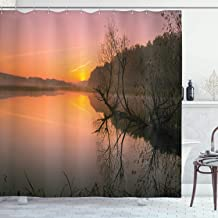 Ambesonne Lake House Decor Collection, Misty Morning Sunrise Tree Silhouettes Sunlight Riverbank Lake Colorful Sky Forest Fog, Polyester Fabric Bathroom Shower Curtain, 75 Inches Long, Multi