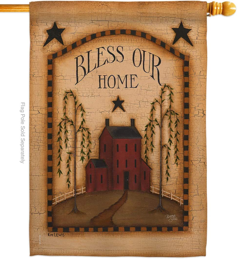 Primitive Classic Bless Our Home House Flag Country Living Farm Western Barn American Rustic Cowboy Rural Ranch Small Decorative Gift Yard Banner Made in USA 28 X 40