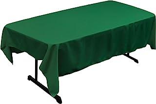 LA Linen Polyester Poplin Rectangular Tablecloth, Emerald Green, 60 x 84-Inch