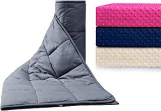 Anjee 41 x 60 Inch Weighted Blankets 10 lbs for Sleeping with Soft Removable Minky Cover, Heavy Blanket with Premium Glass Beads Help Deep Sleep, Cotton/Minky, Grey/Navy Blue