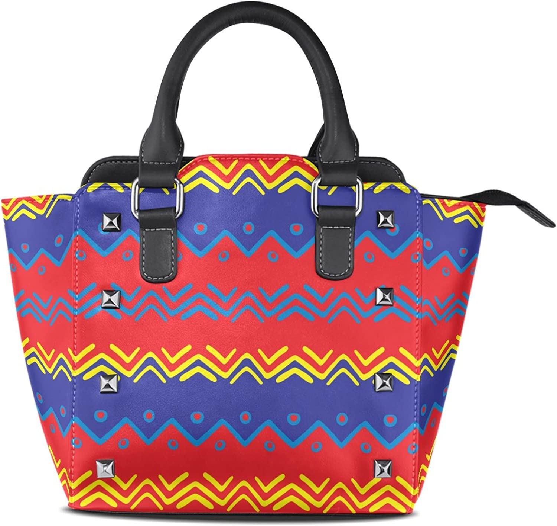 My Little Nest Women's Top Handle Satchel Handbag Bright color Traditional Boho Style Tribal Art Print Ladies PU Leather Shoulder Bag Crossbody Bag