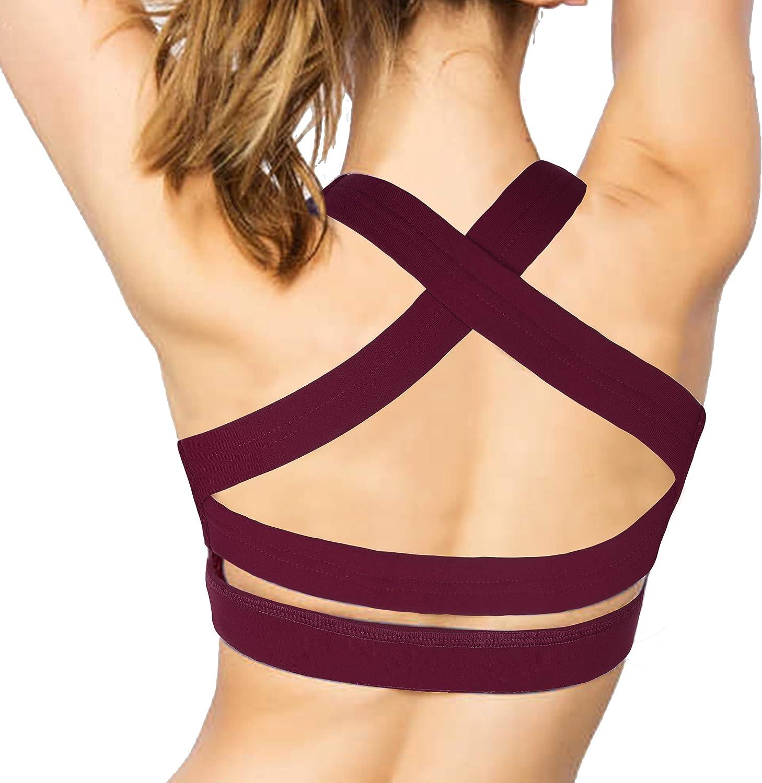 IMUZYN Strappy Sports Bra for Women Padded Bra Criss-Cross Back Activewear Workout Tops