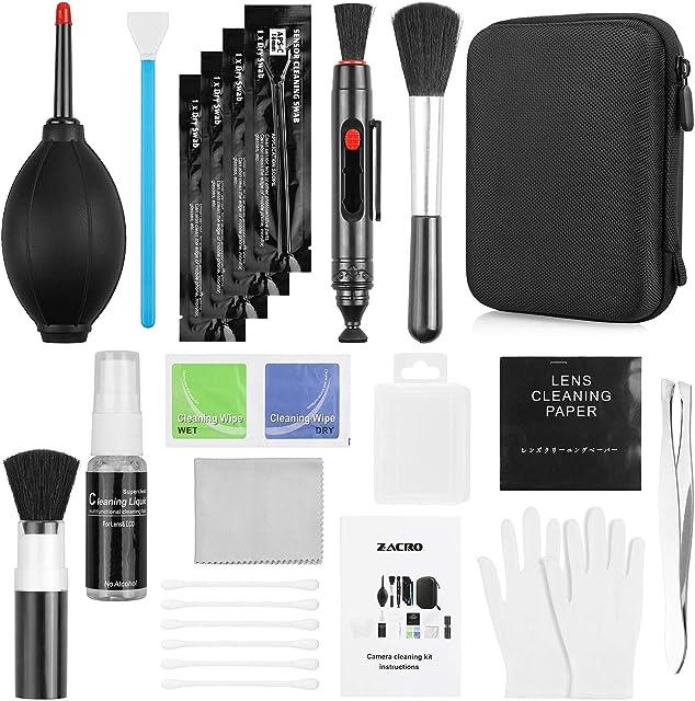 Zacro 49 en 1 Kits Limpieza Cámara Reflex Profesional para Cámaras Réflex y Lente Optica Cámaras Digitales DSLR Rebel EOSOlympusSony Alpha NEXNXCarcasa Impermeable Negra