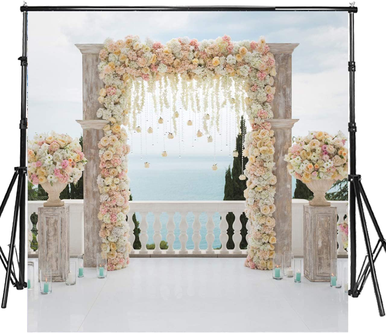 WP022//8x6ft Sensfun 8x6ft Wedding Ceremony Photo Backdrops Bridal Shower Arch White Curtain Rose Flower Decor Photography Background Flowers Petal Falling on Sand Beach Portrait Photo Studio Props