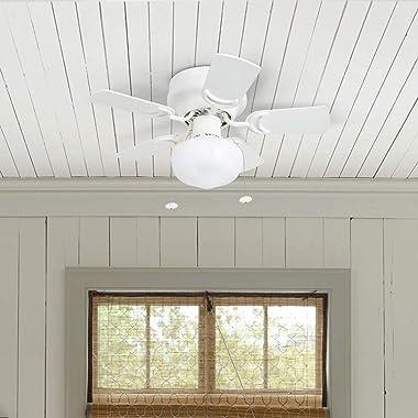 """Prominence Home 50875 Hero Hugger Ceiling Fan, 28"""", White"""