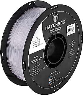 HATCHBOX PC Polycarbonate 3D Printer Filament, Dimensional Accuracy +/- 0.05 mm, 1 kg Spool, 1.75 mm, Transparent White