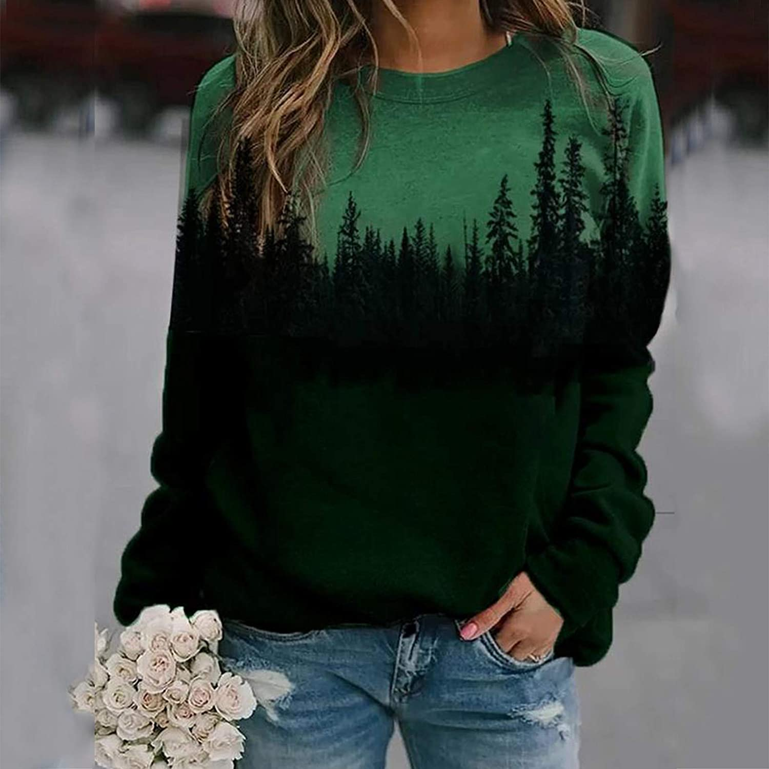 Womens Casual Pullover Tops Long Sleeve Funny Print Loose Fit Shirts Sweaters Portazai Womens Christmas Sweatshirts
