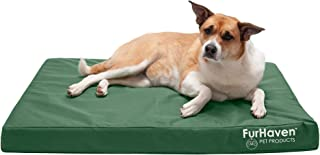 Furhaven Cooling Gel Foam Pet Bed for Dogs and Cats - Water-Resistant Indoor-Outdoor Oxford Polycanvas Logo Print with Removable Washable Cover, Forest, Large
