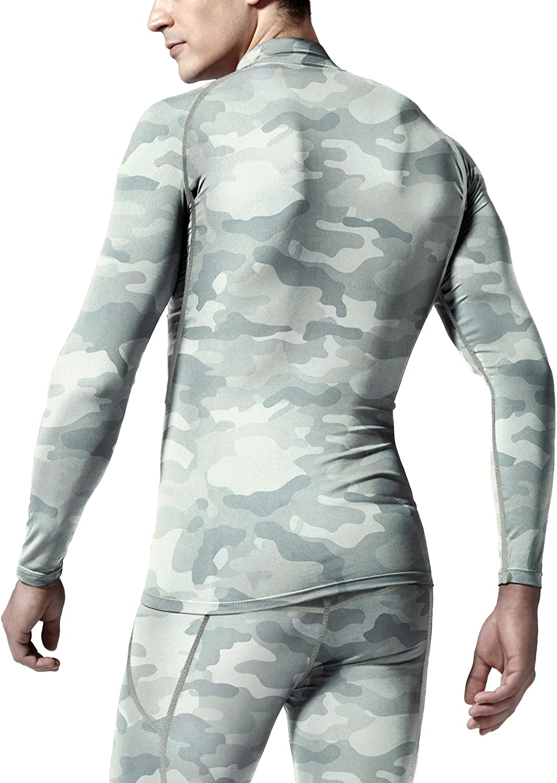 Athletic Workout Shirt TSLA Mens Cool Dry Mock Long Sleeve Compression Shirts Active Sports Base Layer T-Shirt UPF 50