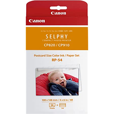 Canon RP-54 Color Ink/Paper Set, Compatible with SELPHY CP910/CP1200/CP1300