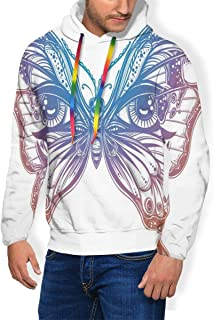 Men's Hoodie Thicken Fluff Sweatshirt,Spiritual Madam Butterfly Wings with Human Eyes Retro Tattoo Freedom Theme Nature