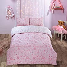 Dreamscene Unicorn Castle Duvet Cover with Pillowcase Reversible Little Princess Rainbow Kids Bedding Set, Blush Pink Whit...