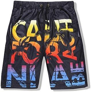 XIELH Men'S Beach Shorts, Loose Quick Dry Swim Trunks Drawstring Summer Short Pants For Men, Boys 3D Alphabet Beach Shorts