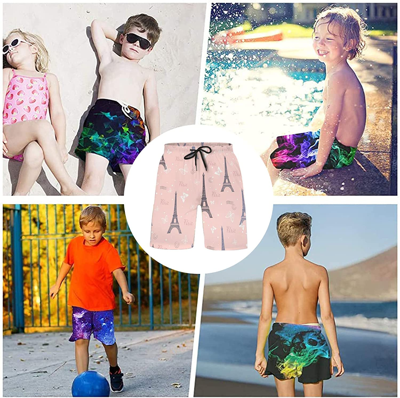 Vintage Eiffel Tower On Pink Boys Swim Trunks Quick Dry Casual Board Shorts Elastic