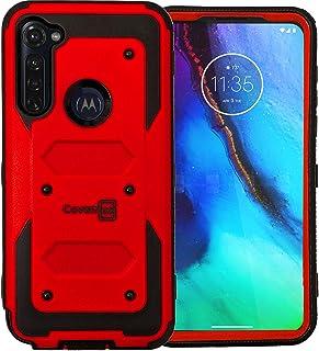 CoverON Heavy Duty Full Body Tank Series Armor Slip-Free Drop Resistant Phone Cover for Motorola Moto G Stylus Case - Red
