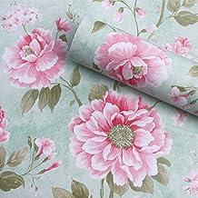 Vintage flores patrón papel de contacto estante maletero papel pintado autoadhesivo extraíble de flores para estantes cajón muebles pared artes y oficios 17.7x 78.7pulgadas