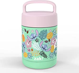 Zak Designs Kids' Vacuum Insulated Stainless Steel Food Jar with Carry Handle, Thermal Container for Travel Meals and Lunch On The Go, 12 oz, Lilo and Stitch