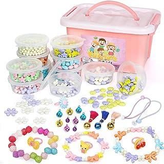 Sanlebi Enfants Bricolage Perles Set, 1000 Pièces Bracelet Perle pour Fabrication de Bracelets,Collier, Kit Fabrication Bi...