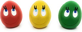 Set of 3 Egg Dog Toys with Squeaker Natural Rubber (Latex) Complies with Same Safety Standards as Kids' Toys Soft and Squeaky Colors May Vary.