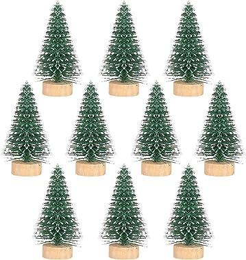 LIOOBO 10Pcs Mini Christmas Tree Decor with Snow Covered Pine DIY Artificial Christmas Tree Desktop for Home Party Bar Holida