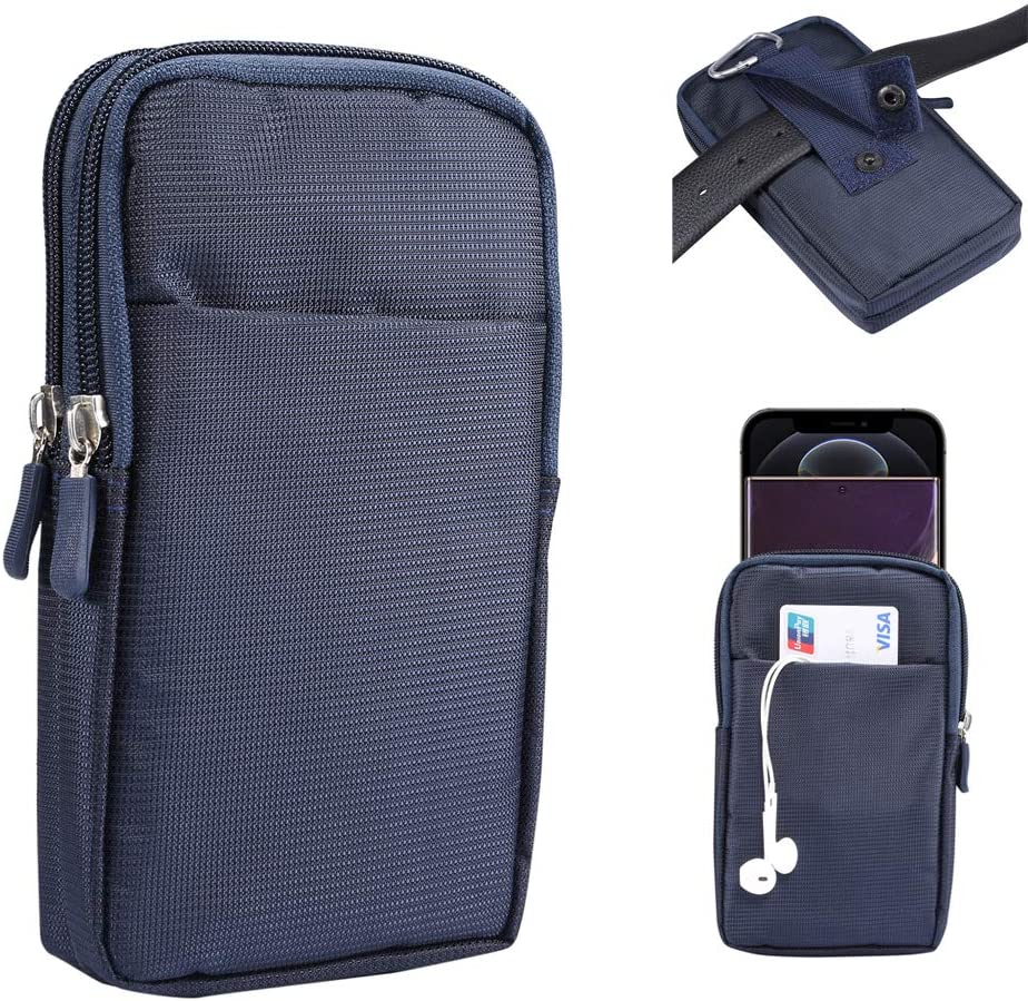 Zipper Oxford Dual Cell Phone Pouch Belt Holster Case with Clip/Loop Waist Wallet Bag for Motorola Moto G Power,G8 Plus/ Samsung Galaxy S20 Plus,S20,Note 20,A71,A51/ LG Stylo 5/ OnePlus 7T,8,8T (Blue)