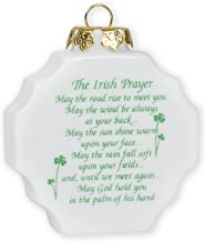 Old Irish Prayer Blessing Shamrocks 3 x 3 Inch Porcelain Christmas Ornament