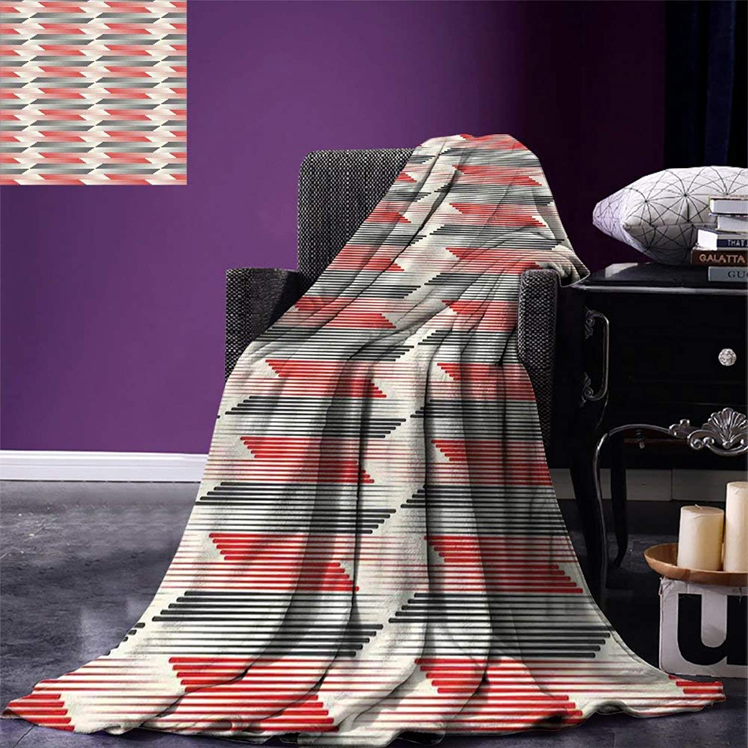 VAMIX Modern Fashion Blanket Geometric Graphic Grid Abstract Pattern with Thin and Bold Lines Velvet Plush Fashion Blanket Charcoal Grey Scarlet Cream, Blanket