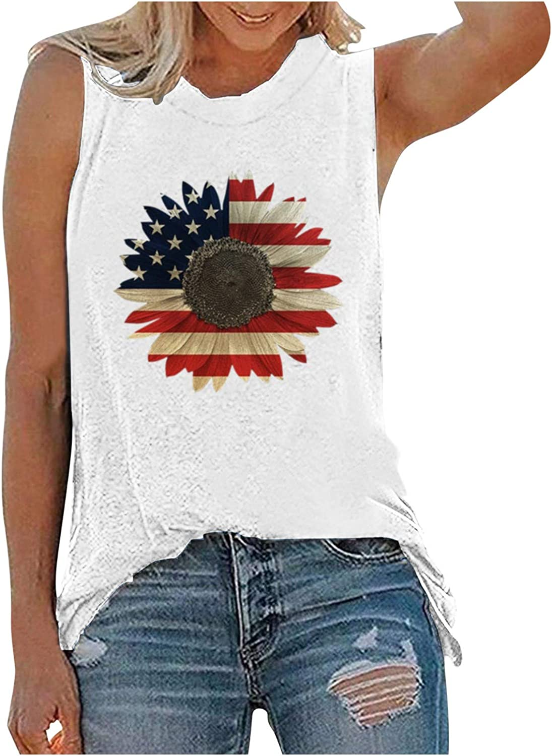 Women Tank Tops, Fankle Sunflower Printed Vest Tshirt Sleeveless Workout Blouse Casual Summer Tank Top Tunic Tee
