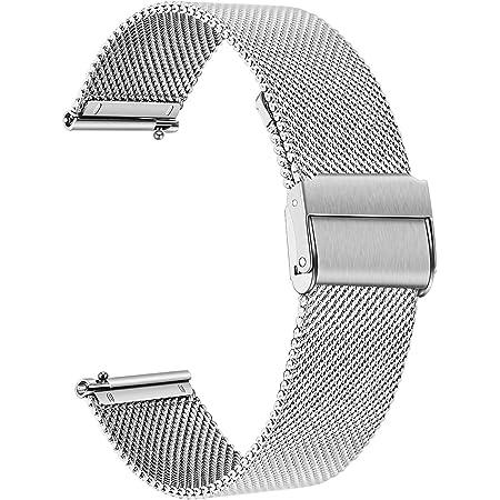 TRUMiRR Remplacement pour Fossil Women's Gen 4 Venture HR Bande de Montre, 18mm Bracelet de Montre en Acier Inoxydable tissé Bracelet à libération Rapide pour Fossil Q Gen 3 Venture, DW 36mm