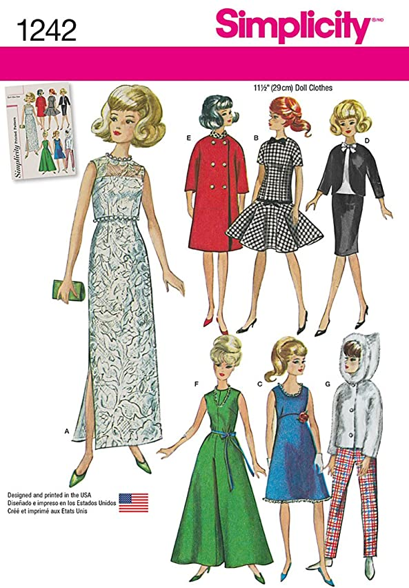 Simplicity 1242 Vintage Fashion 11.5'' Doll Clothes Sewing Pattern, One Size Only