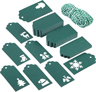 Sumind 200 Pieces Christmas Gift Tags Christmas Tree Tags Kraft Paper Hanging Tag in 8 Styles Hollow Designs with 197 Feet...