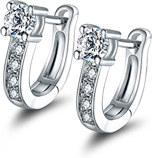 Barzel White Gold Plated Swarovski Elements Crystal Huggie-Hoop Earrings