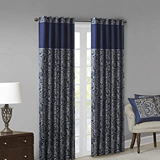 Madison Park Aubrey Jacquard Room-Darkening Window Curtain 2 Blackout Panel Pair for Bedroom and Dormitory, 50x84, Navy