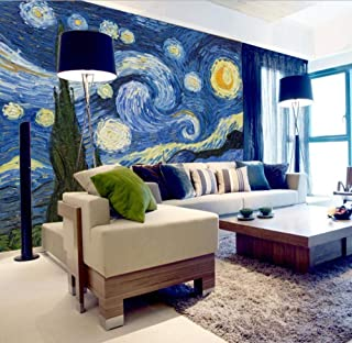 hhlwl 3D Photo Wallpaper Classic Oil Painting Starry Sky Abstract Art Wall Painting Living Room Background Home Decor Mura...