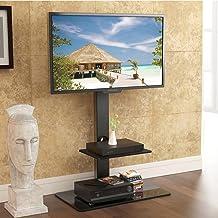 FITUEYES Soporte Giratorio de TV de 32 a 65 Pulgadas con 2 Estantes Soporte de Suelo para Televisión LCD LED OLED Plasma Plano Curvo Girar 30 Grados Altura Ajustable 123-135 cm MAX VESA 400x600 mm
