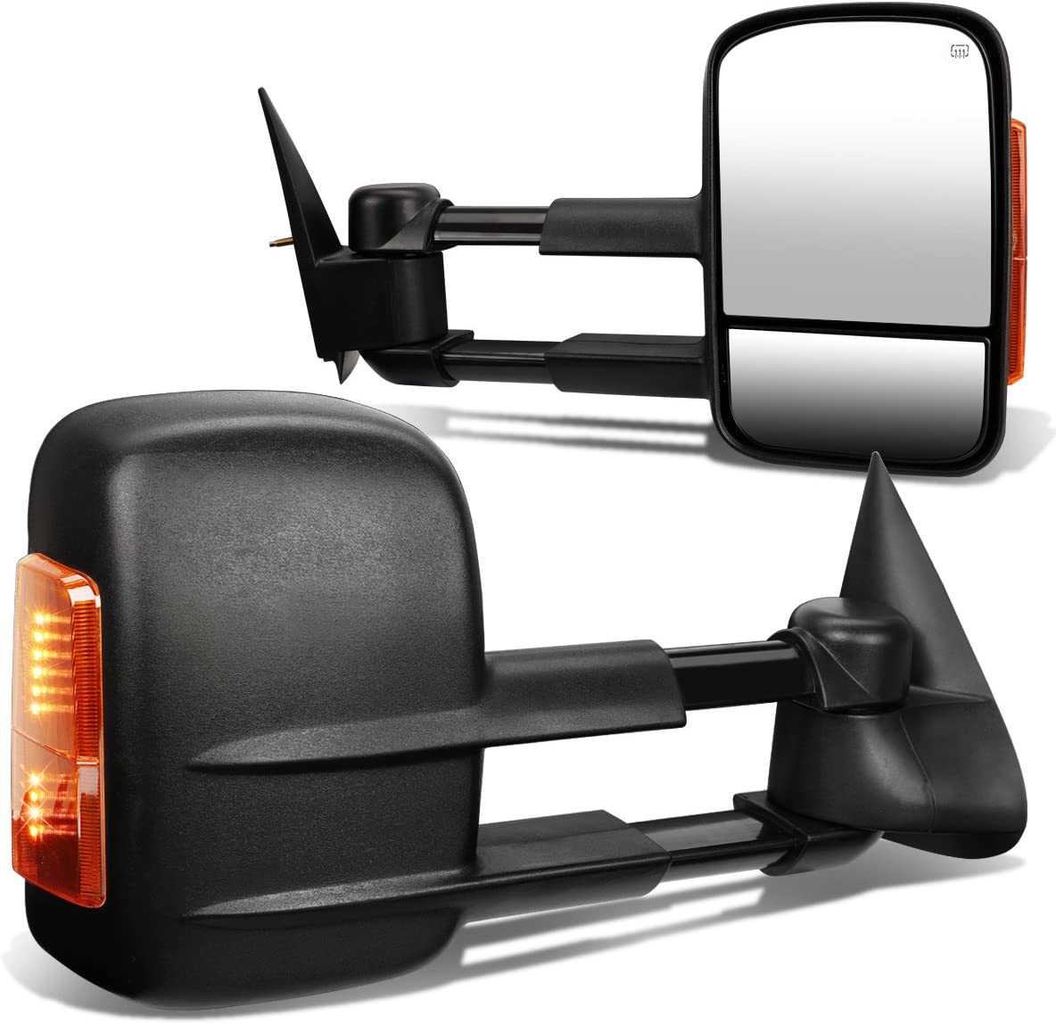 Pair Black Power Heated Amber LED Turn Signal Light Side Towing