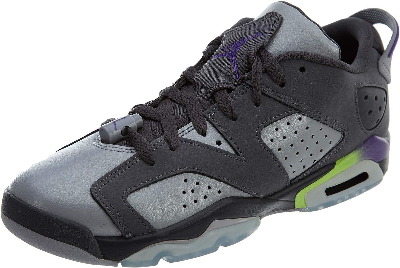 NIKE Boys Air Jordan 6 Retro Low GG Ultra Violet Dark Grey//Ultraviolet Purple-Wolf Grey Leather
