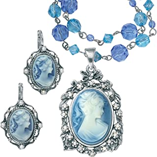 Palm Beach Jewelry Silver Tone Antiqued Oval Shaped Cameo Lucite and Simulated Pearl, Drop Necklace and Earring Set, 16 inches Plus 2 inch