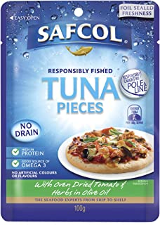 Safcol Australia SAFCOL Tuna Pouch with Oven Dried Tomato and Herbs in Olive Oil 100g Pouches, 48 Pack, 1 x 4.8 kg