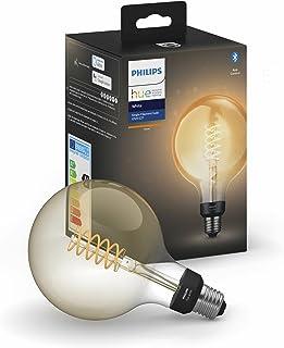 Philips Hue Bombilla inteligente LED E27 (9.5 x 14.2, 7 W, forma globo, Bluetooth, filamento, luz banca cálida, compatible...