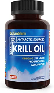 BioEmblem Antarctic Krill Oil Supplement | 1000mg | Omega-3 Oil with High Levels of EPA + DHA, Astaxanthin, and Phospholip...